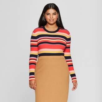 Who What Wear Women's Plus Size Striped Long Sleeve Crew Sweater