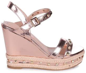 f3c1be4b8a5 Linzi CARMEN - Rose Gold Wedge With Mixed Studded Diamante Detail With Rope  Trim