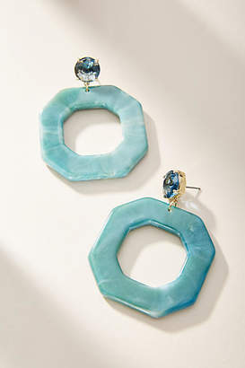 Anthropologie Amelie Octagon Hoop Earrings