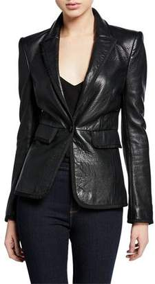 L'Agence Paulie Leather Tuxedo Jacket