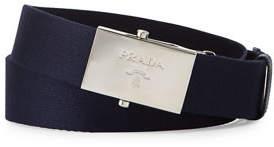Prada Nylon Belt w/Logo Plaque Buckle, Black $310 thestylecure.com