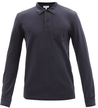 Sunspel Riviera Long Sleeved Cotton Polo Shirt - Mens - Navy