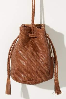 Anthropologie Torey Woven-Leather Bucket Bag