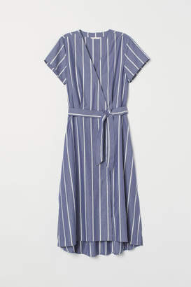 H&M V-neck Wrap Dress - Blue