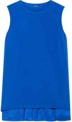 ADAM by Adam Lippes Pleated Silk Crepe De Chine Top - Bright blue