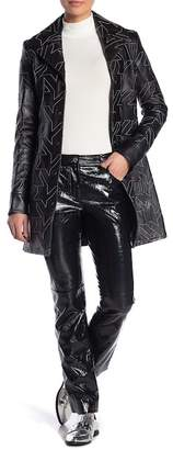 Helmut Lang Patent Leather Cropped Flare Pants
