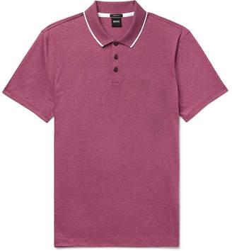 HUGO BOSS Contrast-tipped Melange Cotton-jersey Polo Shirt - Burgundy