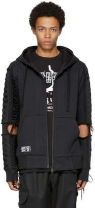 Kokon To Zai Black Lace-Up Zip Hoodie