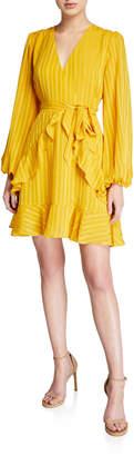 Astr Ruffle Faux-Wrap Tie-Front Dress