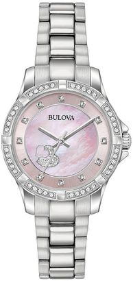 Bulova Woman's Crystal Heart Stainless Steel Watch - 96L237 $250 thestylecure.com