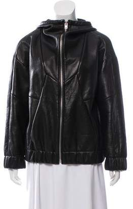 IRO Hooded Lamb Leather Jacket