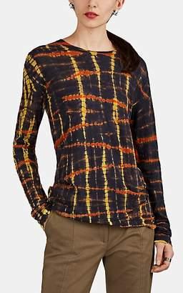 Proenza Schouler Women's Tie-Dyed Cotton Long-Sleeve T-Shirt - Black Pat.