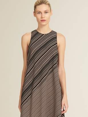 DKNY Painted Stripe Asymmetrical Sleeveless Dress
