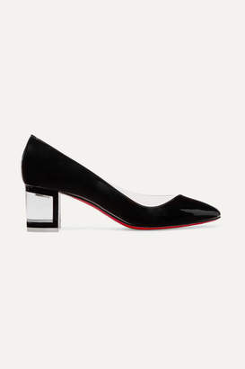 Christian Louboutin Provisore 55 Patent-leather And Pvc Pumps - Black