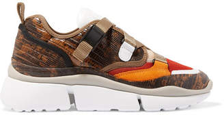 Chloé Sonnie Canvas, Mesh, Suede And Snake-effect Leather Sneakers - Snake print