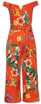 Quiz Womens *Quiz Orange Floral Print Bardot Jumpsuit