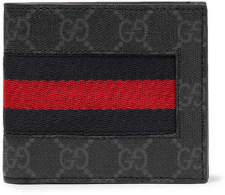 Gucci Webbing-Trimmed Monogrammed Coated-Canvas Billfold Wallet - Men - Black