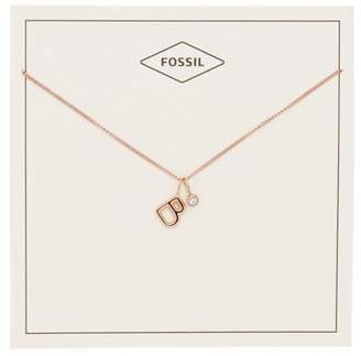 Fossil Letter B Rose Gold-Tone Stainless Steel Necklace jewelry