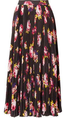 MSGM Floral-print Plissé-crepe Midi Skirt