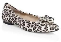 Stuart Weitzman Cressida Leopard-Print Calf Hair Flats