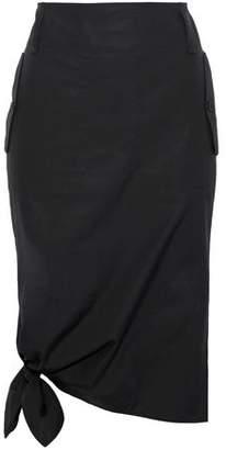 Max Mara Carbone Knotted Cotton-Poplin Skirt