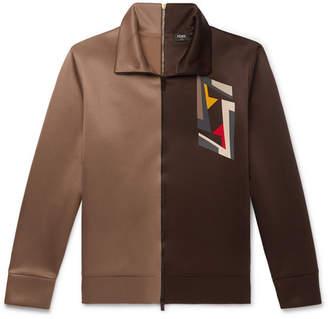 Fendi Logo-Print Two-Tone Tech-Jersey Track Jacket