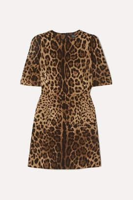 Dolce & Gabbana Leopard-print Wool-crepe Mini Dress - Leopard print