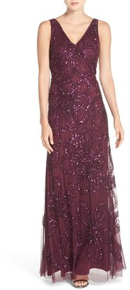 Adrianna Papell Floral Embellished Mesh Gown $349 thestylecure.com