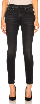 R 13 High Rise Skinny in Black Marble | FWRD