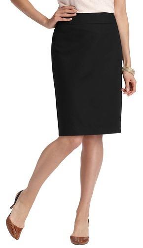 LOFT Cotton Linen Canvas Pencil Skirt