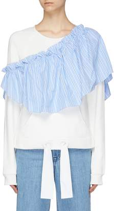 Xiao Li Detachable stripe ruffle panel drawstring sweatshirt
