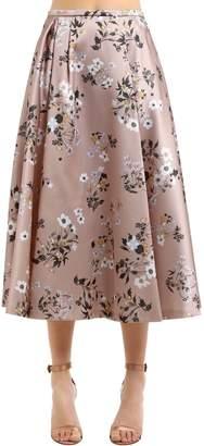 Rochas Floral Printed Duchesse Satin Midi Skirt