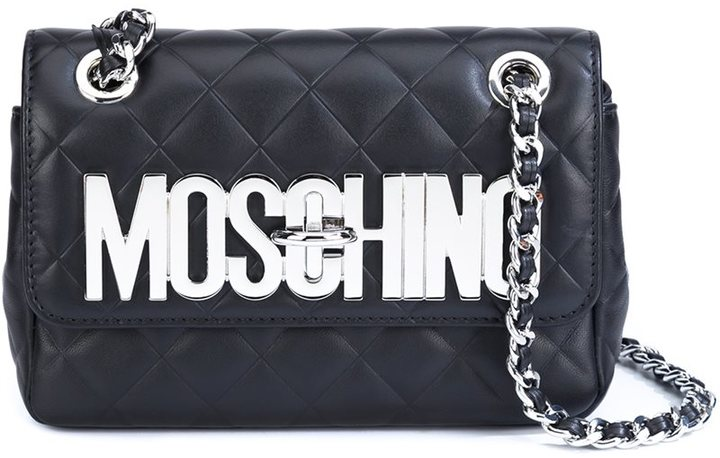 MoschinoMoschino quilted logo plaque shoulder bag