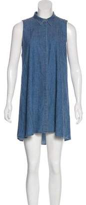 Alice + Olivia Sleeveless Linen-Blend Shirtdress