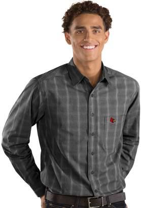 Antigua Men's Louisville Cardinals Plaid Pattern Button-Down Shirt