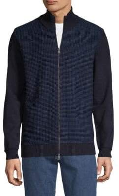 HUGO BOSS Bacco Knit Wool Colorblock Zip Sweater