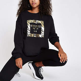 River Island Black 'Amoureux' gold foil print sweatshirt