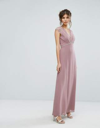 Elise Ryan Maxi Dress With Eyelash Lace And Embellished Waist