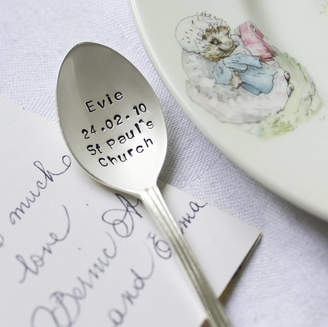 The Cutlery Commission Personalised Silver Plated Christening Spoon