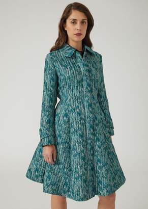Emporio Armani Flared Chevron Jacquard Coat With Pleats