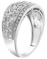 Lord & Taylor Diamond and Sterling Silver Scroll Ring