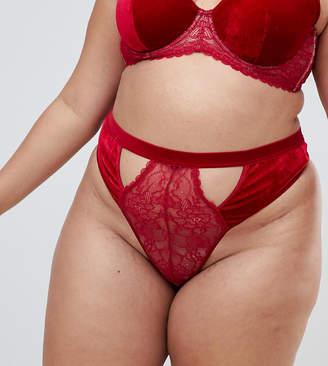 Asos DESIGN Curve Emma velvet & lace thong