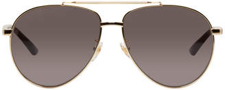 Gucci Gold Retro Aviator Sunglasses