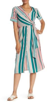 Lush Striped Short Sleeve Tie Side Midi Dress
