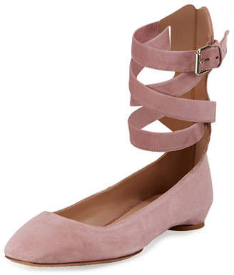 Valentino Plum Suede Lace-Up Ballet Flat