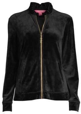 Lilly Pulitzer Jaya Velour Zip-Up Jacket