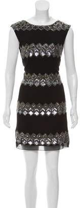 Alice + Olivia Silk Embellished Cut-Out Dress