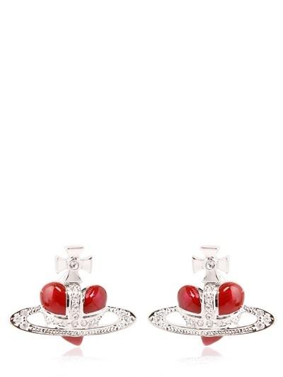Vivienne Westwood Diamante Heart Enameled Brass Earrings