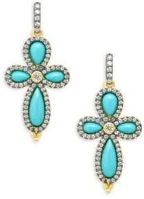 Freida Rothman Pavé Crystal & Turquoise Clover Drop Earrings