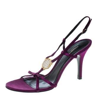 Dolce & Gabbana Purple Leather Sandals